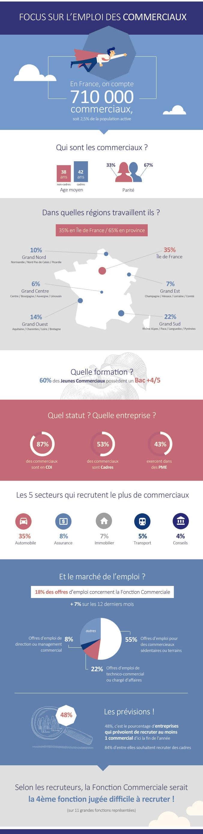 infographie emploi des commerciaux en France